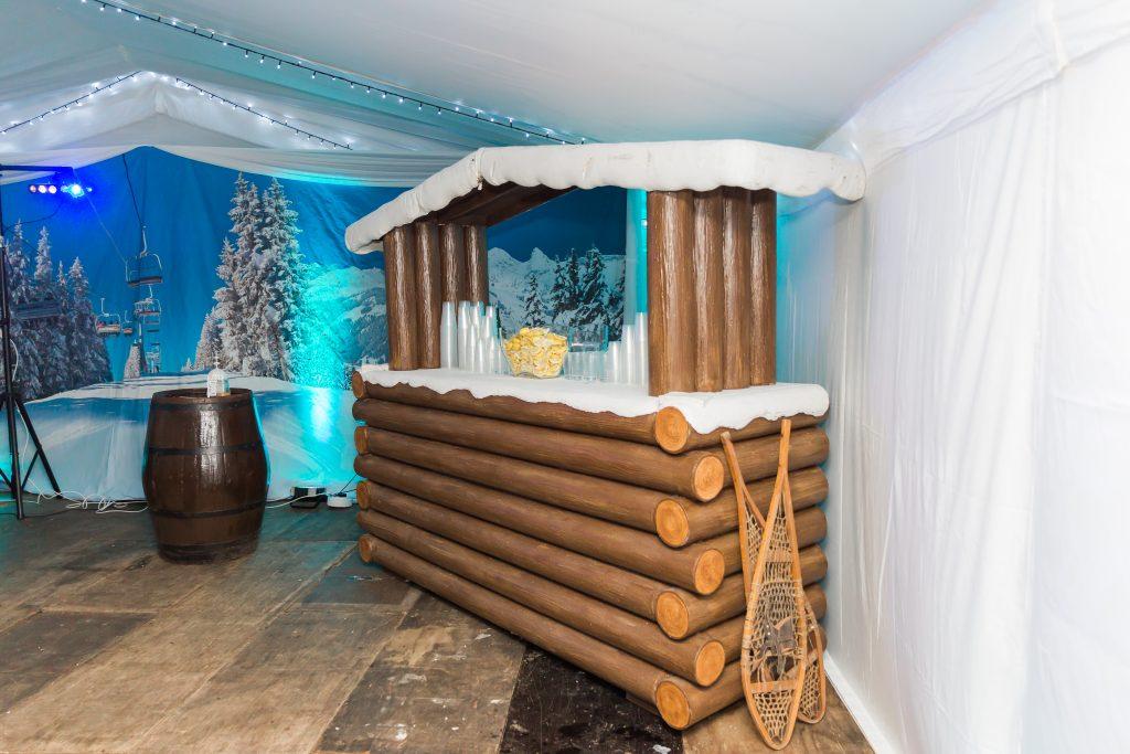 Apres Ski party - alpine bar with snowy roof