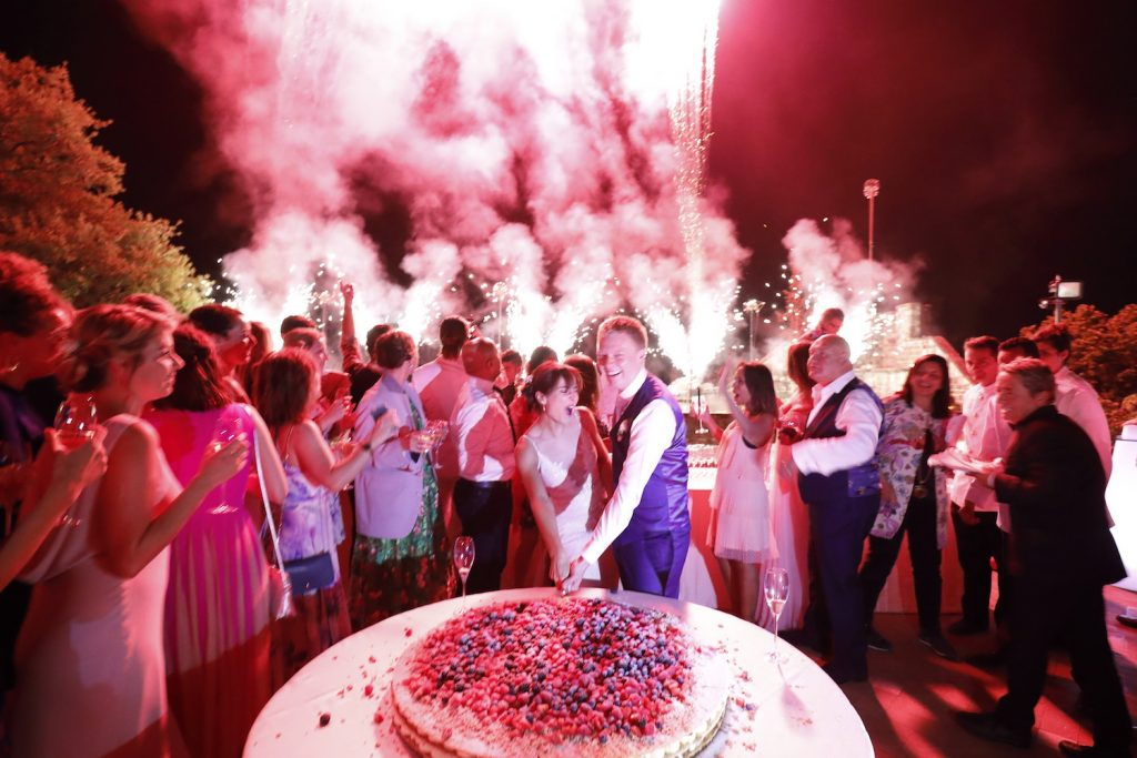 Giant cake, colourful fireworks for luxury destination wedding planned by Elegante