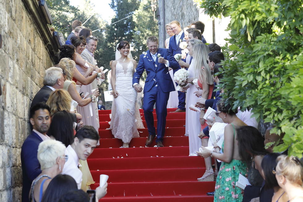 Confetti shot Italy wedding