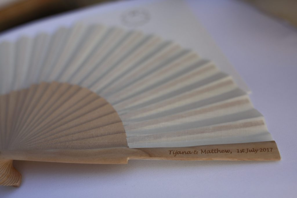 Wedding fans personalised