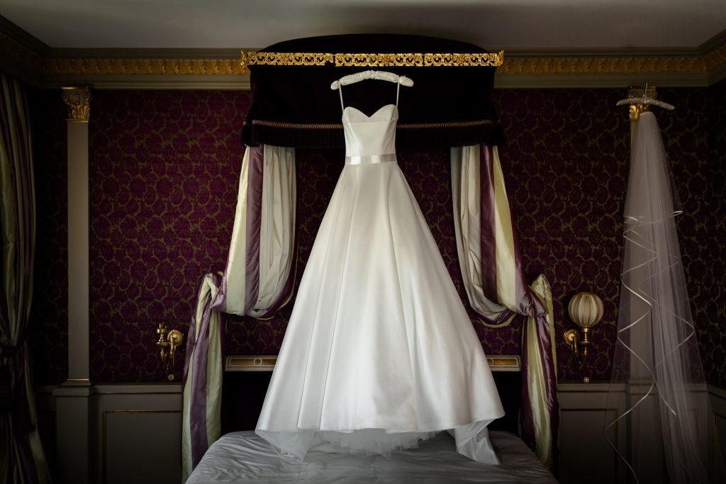 Suzanne Neville wedding dress hanging