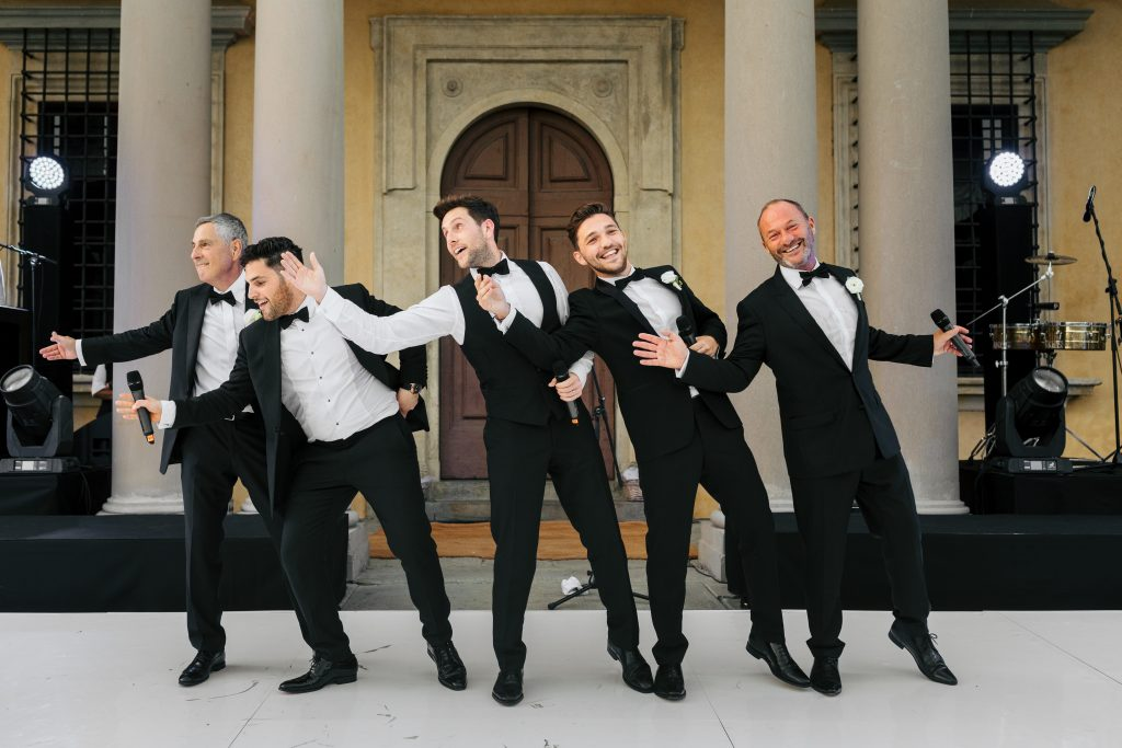 Groom and groomsmen luxury Italian wedding