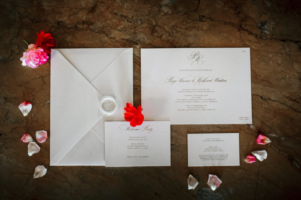 Luxury Italian destination wedding stationery