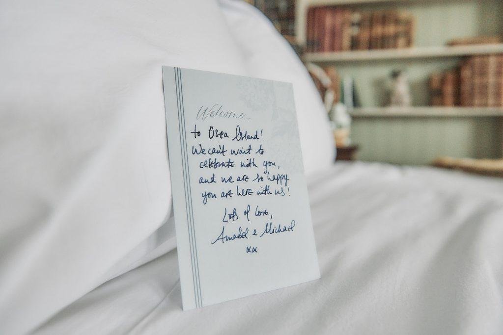 jewish wedding planner - jewish destination wedding - osea island welcome note